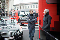Etixx-Quickstep DS Rolf Aldag and BMC DS Allen Piper chatting before the race<br /> <br /> 106th Milano - San Remo 2015