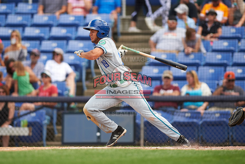 Hartford Yard Goats center fielder Omar Carrizales (19) at bat during a game against the Binghamton Rumble Ponies on July 9, 2017 at NYSEG Stadium in Binghamton, New York.  Hartford defeated Binghamton 7-3.  (Mike Janes/Four Seam Images)