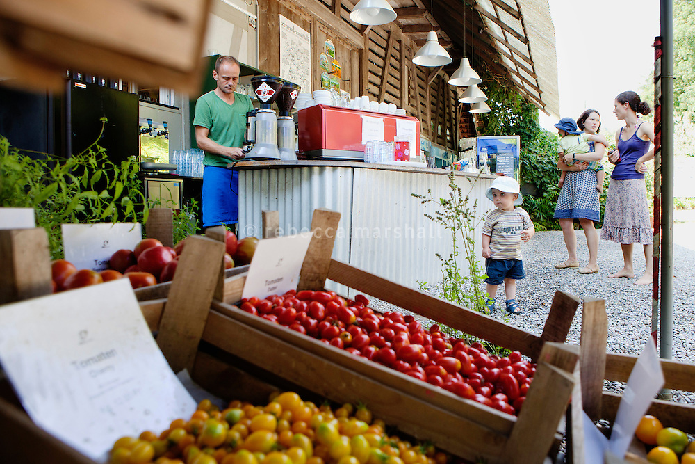 Zehendermätteli, Bern, Switzerland, 26 August 2011. Zehendermätteli is a working farm and restaurant, and visitors can buy fresh produce in season.