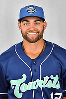 Asheville Tourists infielder Johnny Cresto (17) during media day at McCormick Field on April 2, 2019 in Asheville, North Carolina. (Tony Farlow/Four Seam Images)