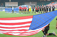 DC United at the signing of the USA National Anthem.  DC United defeated El Salvador National Team 1-0 in a international charity match at RFK Stadium, Saturday June 19, 2010.
