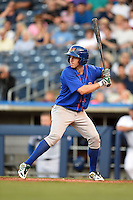 Midland RockHounds outfielder Billy Burns (17) at bat during a game against the Tulsa Drillers on May 30, 2014 at ONEOK Field in Tulsa, Oklahoma.  Tulsa defeated Midland 7-1.  (Mike Janes/Four Seam Images)