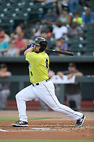 First baseman Chase Chambers (8) of the Columbia Fireflies bats in a game against the Augusta GreenJackets on Thursday, July 11, 2019 at Segra Park in Columbia, South Carolina. Columbia won, 5-2. (Tom Priddy/Four Seam Images)
