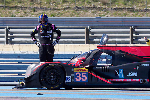 28.03.2015.  Le Castellet, France. World Endurance Championship Prologue Day 2. The driver of Oak Racing Ligier JS P2 Nissan inspects the damage after hitting the barrier.