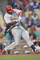 08/9/11 Los Angeles, CA: Philadelphia Phillies center fielder John Mayberry Jr. #15 during an MLB game against the Los Angeles Dodgers played at Dodger Stadium. The Phillies defeated the Dodgers 2-1.