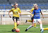 20190807 - DENDERLEEUW, BELGIUM : LSK's Mille Dalen pictured with Linfield's Kelsie Burrows (right) during the female soccer game between the Norwegian LSK Kvinner Fotballklubb Ladies and the Northern Irish Linfield ladies FC , the first game for both teams in the Uefa Womens Champions League Qualifying round in group 8 , Wednesday 7 th August 2019 at the Van Roy Stadium in Denderleeuw  , Belgium  .  PHOTO SPORTPIX.BE for NTB  | DAVID CATRY