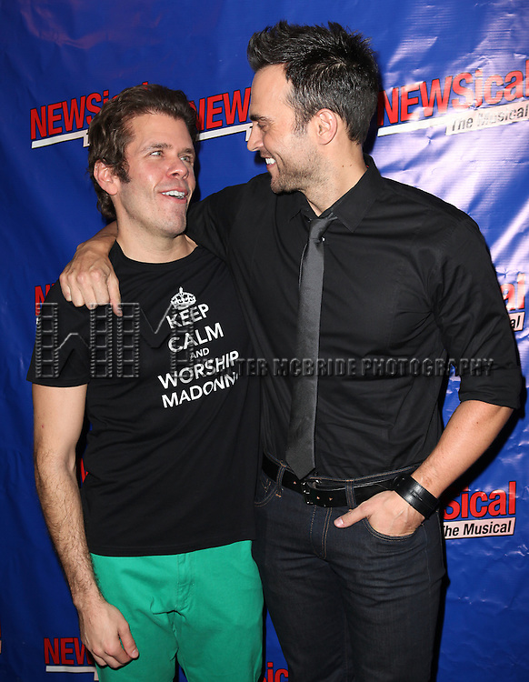Perez Hilton & Cheyenne Jackson attending the Opening Night Performance of Perez Hilton in 'NEWSical The Musical' at the Kirk Theatre  in New York City on September 17, 2012.