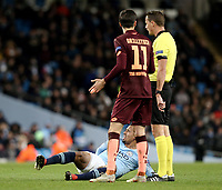 Manchester City's Gabriel Jesus is grounded following a tough tackle<br /> <br /> Photographer Rich Linley/CameraSport<br /> <br /> UEFA Champions League Group F - Manchester City v TSG 1899 Hoffenheim - Wednesday 12th December 2018 - The Etihad - Manchester<br />  <br /> World Copyright © 2018 CameraSport. All rights reserved. 43 Linden Ave. Countesthorpe. Leicester. England. LE8 5PG - Tel: +44 (0) 116 277 4147 - admin@camerasport.com - www.camerasport.com
