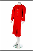 BNPS.co.uk (01202 558833)<br /> Pic:   KerryTaylorAuctions/BNPS<br /> <br /> Princess Diana's Jasper Conran red wool suit sold for £62,500.<br /> <br /> Three designer dresses worn by Princess Diana for her Royal duties have sold for over £260,000.<br /> <br /> The trio of outfits included a blue and white striped dress commissioned from the Emanuels and worn by Diana during her visit to the Gulf states with Prince Charles in 1986. That sold for £106,000 alone.<br /> <br /> A Catherine Walker printed peach silk polka dot coat dress the Princess of Wales was seen out in on numerous occasions in the late 1980s and early '90s fetched almost £100,00 at the sale in London.