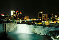 Rochester, NY, New York, Upper Falls of the Genesee River in downtown Rochester in the evening.