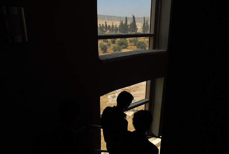 Men at El-Kuds University, in the West Bank village of Abu-Dis bordering Jerusalem.