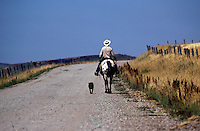 COWBOY riding his HORSE down the road with his DOG by his side - WYOMING