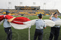 June 26, 2008; Hamilton, ON, CAN; Cadets wait to unfurl the field-sized Canadian flag prior to the CFL football game between the Montreal Alouettes and Hamilton Tiger-Cats at Ivor Wynne Stadium. Montreal won 33-10. Mandatory Credit: Ron Scheffler-www.ronscheffler.com. Copyright (c) Ron Scheffle