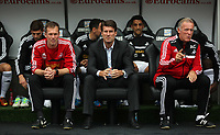 Saturday 28 September 2013<br /> Pictured L-R: Morten Wieghorst, Michael Laudrup and Alan Curtis<br /> Re: Barclay's Premier League, Swansea City FC v Arsenal at the Liberty Stadium, south Wales.