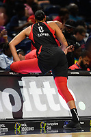 Washington, DC - July 13, 2019: Las Vegas Aces center Liz Cambage (8) stretches at the scores table before game between Las Vegas Aces and Washington Mystics at the Entertainment & Sports Arena in Washington, DC. (Photo by Phil Peters/Media Images International)
