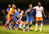 Gillingham's Brandon Hanlan and Blackpool's Nathan Delfouneso<br /> <br /> Photographer Rachel Holborn/CameraSport<br /> <br /> The EFL Sky Bet League One - Gillingham v Blackpool - Tuesday 6th November 2018 - Priestfield Stadium - Gillingham<br /> <br /> World Copyright &copy; 2018 CameraSport. All rights reserved. 43 Linden Ave. Countesthorpe. Leicester. England. LE8 5PG - Tel: +44 (0) 116 277 4147 - admin@camerasport.com - www.camerasport.com