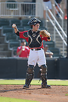 Kannapolis Intimidators catcher Brett Austin (20) throws the ball back to his pitcher during the game against the Hickory Crawdads at CMC-Northeast Stadium on May 21, 2015 in Kannapolis, North Carolina.  The Intimidators defeated the Crawdads 2-0 in game one of a double-header.  (Brian Westerholt/Four Seam Images)