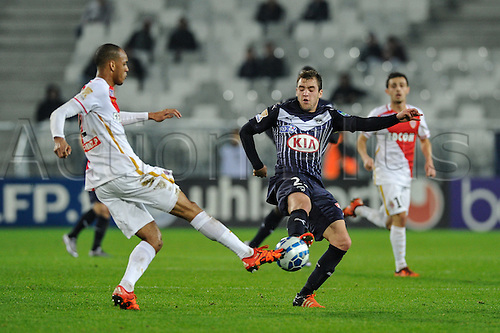16.12.2015. Bordeaux, France. French League cup football from the Stade Chaban-Delmas. Bordeaux versus Monaco.  Valentin Vada (gir) blocks a cross for Monaco