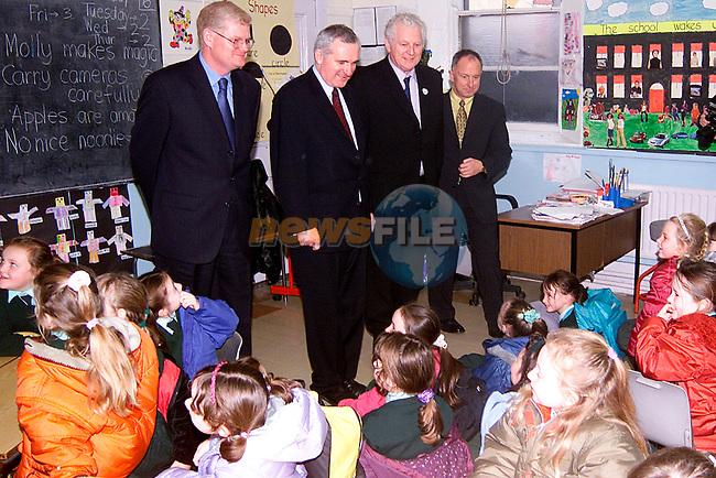 Taoiseach Bertie Ahern meeting pupils in Fatima School..Picture: Paul Mohan/Newsfile
