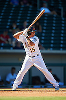 Mesa Solar Sox Yairo Munoz (15), of the Oakland Athletics organization, during a game against the Scottsdale Scorpions on October 18, 2016 at Sloan Park in Mesa, Arizona.  Mesa defeated Scottsdale 6-3.  (Mike Janes/Four Seam Images)