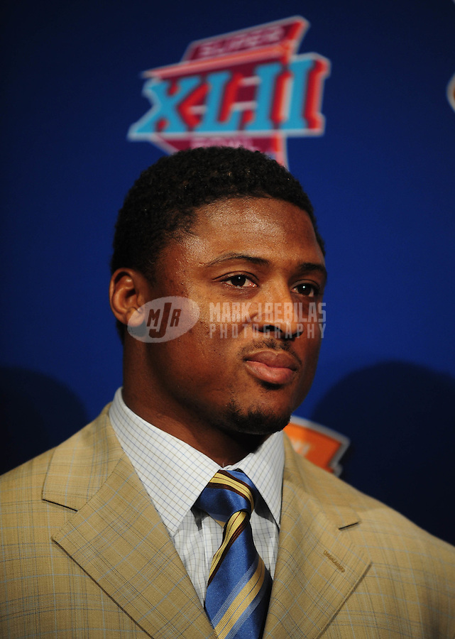Jan 30, 2008; Phoenix, AZ, USA; Atlanta Falcons running back Warrick Dunn speaks after being named the inaugural winner of the Home Depot NFL Neighborhood MVP Award for his charitable community contributions during a press conference at the Superbowl media center. Mandatory Credit: Mark J. Rebilas-US PRESSWIRE