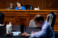 """United States Senator Dianne Feinstein (Democrat of California), Ranking Member, US Senate Judiciary Committee speaks during a US Senate Judiciary Committee Hearing """"to examine COVID-19 fraud, focusing on law enforcement's response to those exploiting the pandemic"""" on Capitol Hill in Washington, DC on June 9, 2020. <br /> Credit: Erin Schaff / Pool via CNP/AdMedia"""