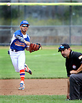 TORRINGTON CT. 27 July 2017-072717SV03-#2 Larry Zapata of Wolcott Storm throws over the umpire for an out in the 3rd inning against the Colton, CA. Nighthawks during the Mickey Mantle World Series in Torrington Thursday.<br /> Steven Valenti Republican-American