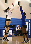 Marymount's Courtney Phung and Morgan McAlpin get ready to start a college volleyball match against PSU Harrisburg at Marymount University in Arlington, Vir., on Wednesday, Oct. 9, 2013.<br /> Photo by Cathleen Allison