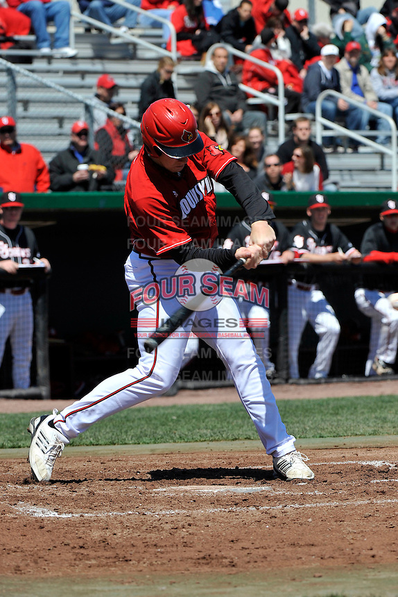 Louisville Cardinals outfielder Ryan Seiz (16) during a game against St.John's Red Storm at Jack Kaiser Stadium in Queens, New York;  April 17, 2011.  St. John's defeated Louisville 7-2.  Photo By Tomasso DeRosa/Four Seam Images