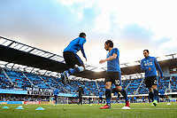 San Jose, CA - Saturday April 08, 2017: Jahmir Hyka, Marco Ureña  prior to a Major League Soccer (MLS) match between the San Jose Earthquakes and the Seattle Sounders FC at Avaya Stadium.