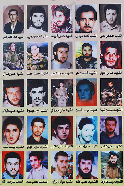 For the attention of foreign pix-Portrait of Hezbollah 'martrys' from the village of Maislal Jabal in southern Lebanon who died in the groups fight with Isreali forces.  About 1,400 Hezbollah fighters are thought to have died in the fighting.<br />