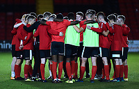 Lincoln City U18 players in a pre match huddle<br /> <br /> Photographer Andrew Vaughan/CameraSport<br /> <br /> The FA Youth Cup Second Round - Lincoln City U18 v South Shields U18 - Tuesday 13th November 2018 - Sincil Bank - Lincoln<br />  <br /> World Copyright © 2018 CameraSport. All rights reserved. 43 Linden Ave. Countesthorpe. Leicester. England. LE8 5PG - Tel: +44 (0) 116 277 4147 - admin@camerasport.com - www.camerasport.com