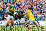 Tom O'Sullivan, Kerry in action against Séamus Lavin, Meath during the Football All-Ireland Senior Championship Quarter-Final Group 2 Phase 3 match between Kerry and Meath at Páirc Tailteann, Navan on Saturday.