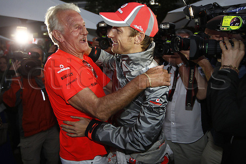 18.03.2012. Melbourne, Australia.   FIA Formula One World Championship 2012 Grand Prix of Australia. Jenson Button GBR Vodafone McLaren Mercedes with His Father John Jenson Button won the race with Sebbastian Vettel in second and Lewis Hamilton in third place.