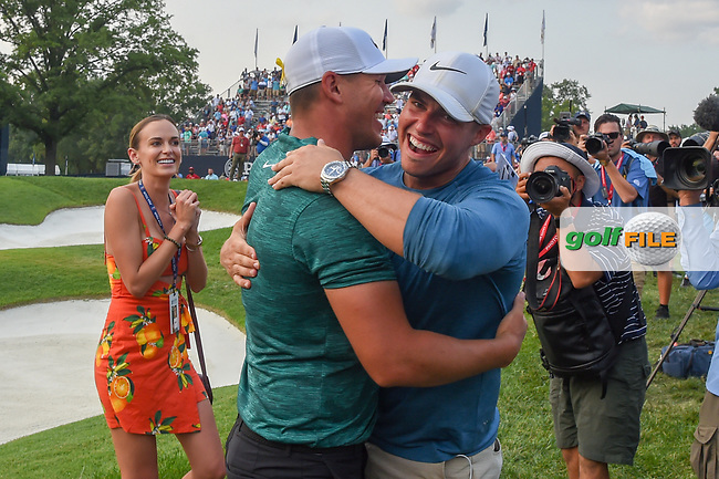 Brooks Koepka (USA) is congratulated for winning the 100th PGA Championship at Bellerive Country Club, St. Louis, Missouri. 8/12/2018.<br /> Picture: Golffile | Ken Murray<br /> <br /> All photo usage must carry mandatory copyright credit (© Golffile | Ken Murray)