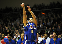 Saints guard Corey Webster shoots a three-pointer. NBL Semifinal - Wellington Saints v Nelson Giants at TSB Bank Arena, Wellington, New Zealand on Friday, 15 July 2011. Photo: Dave Lintott / lintottphoto.co.nz