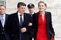 Sharon Stone and her boyfriend Enzo Cursio, journalist, and candidate Nobel Prize for peace in 2018.<br /> Roma 02/12/2018. Palazzo dei Congressi. L'attrice Sharon Stone riceve la croce d'oro al merito dalla Croce Rossa Italiana durante il Jump 2018.<br /> Rome July 30th 2018. Actress Sharon Stone receives the Gold Medal of Merit from Italian Red Cross during the event Jump 2018.<br /> Foto Samantha Zucchi Insidefoto