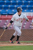 Matt Wieters (32) of the Frederick Keys follows through on his swing versus the Winston-Salem Warthogs at Ernie Shore Field in Winston-Salem, NC, Saturday, June 7, 2008.