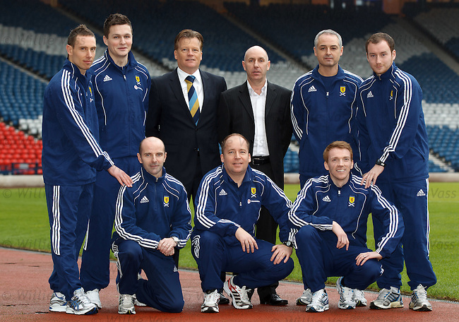 SFA Performance director Mark Wotte with the seven new SFA regional schools performance coaches tasked with developing young players for Scotland