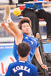 KIM Minhyeok of Korea Republic plays a shot against Malaysia the Beach Sepaktakraw Men's team competition on Day Eight of the 5th Asian Beach Games 2016 at My Khe Beach on 01 October 2016, in Danang, Vietnam. Photo by Marcio Machado / Power Sport Images