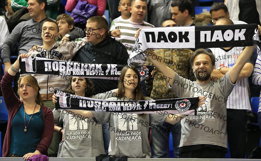Kosarka Friendly match season 2014-2015<br /> Partizan Vs. Armani Jeans<br /> Grobari navijaci fans supporters flags<br /> Beograd, 25.09.2014.<br /> foto: Srdjan Stevanovic/Starsportphoto&copy;