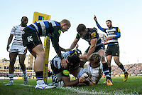 Semesa Rokoduguni of Bath Rugby is congratulated on his try by team-mates. Aviva Premiership match, between Bath Rugby and London Irish on March 5, 2016 at the Recreation Ground in Bath, England. Photo by: Patrick Khachfe / Onside Images