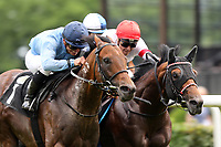 13th June 2020, Dresden, Saxony, Germany, State horse racing; Namleft with Vladimir Panov up wins the Grand Prix of the state capital Dresden Horse Racecourse Dresden