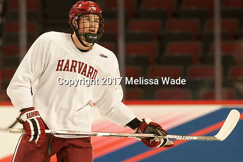 Jacob Olson (Harvard - 26) - The Harvard University Crimson practiced at the United Center on Wednesday, April 5, 2017, in Chicago, Illinois.