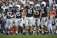 14 November 2009:  The Penn State defense:   Jordan Hill (47), Sean Lee (45),  Jared Odrick (91), Josh Hull (43), and Jack Crawford (81)...The Penn State Nittany Lions defeated the Indiana Hoosiers 31-20 at Beaver Stadium in State College, PA..