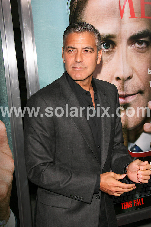 "**ALL ROUND PICTURES FROM SOLARPIX.COM**                                             **SYNDICATION RIGHTS FOR UK, AUSTRALIA, DENMARK, PORTUGAL, S. AFRICA, SPAIN & DUBAI (U.A.E) & ASIA (EXCLUDING JAPAN) ONLY**                                                                                  Caption: George Clooney - ""The Ides of March"" Los Angeles Premiere - Arrivals - AMPAS Samuel Goldwyn Theater - Beverly Hills, CA, USA                                                                              This pic: George Clooney                                                                                              JOB REF:14034        PHZ       DATE:27.09.2011                                                            **MUST CREDIT SOLARPIX.COM OR DOUBLE FEE WILL BE CHARGED**                                                                      **MUST AGREE FEE BEFORE ONLINE USAGE**                               **CALL US ON: +34 952 811 768 or LOW RATE FROM UK 0844 617 7637**"