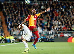 Real Madrid CF's Dani Carvajal and and Galatasaray's Ryan Babel competes for the ball during UEFA Champions League match, groups between Real Madrid and Galatasaray SK at Santiago Bernabeu Stadium in Madrid, Spain. November, Wednesday 06, 2019.(ALTERPHOTOS/Manu R.B.)