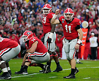 ATHENS, GA - NOVEMBER 23: Jake Fromm #11 of the Georgia Bulldogs calls out an audible attempt the line during a game between Texas A