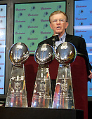 Washington Redskins head coach Joe Gibbs, standing behind the three Vince Lombardi trophies he won in his first stint as head coach, makes remarks at a press conference announcing personnel changes at Redskins Park in Ashburn, Virginia on March 13, 2006.<br /> Credit: Arnie Sachs / CNP
