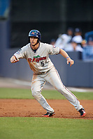 Fort Myers Miracle third baseman Chris Paul (5) leads off first base during a game against the Tampa Yankees on April 12, 2017 at George M. Steinbrenner Field in Tampa, Florida.  Tampa defeated Fort Myers 3-2.  (Mike Janes/Four Seam Images)